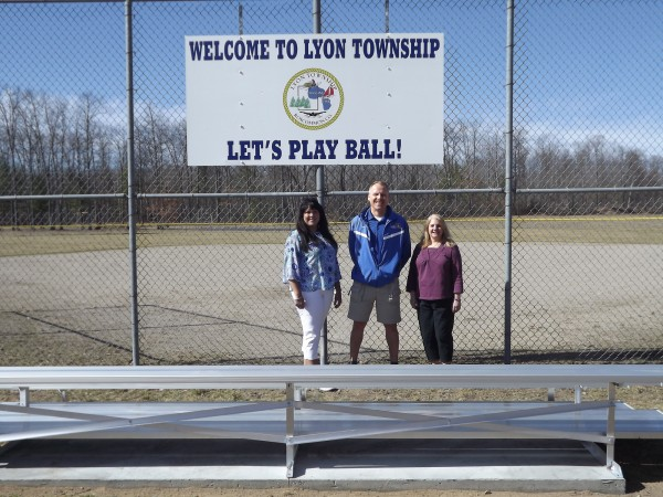 Pictured left to right are:  Annamarie Reno, Lyon Township Clerk; Mike Burnside, RCCF Trustee; and Diane Nellist, Lyon Township Deputy Supervisor.