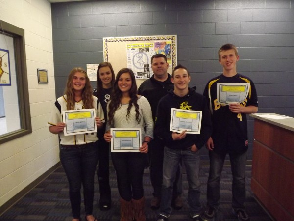 Pictured are:  (front row) Sarah Dibbet, Janelle Janise, William Dominek, and Grant Smitz; (back row) Kaeley Hahn and Scott Mires (Big Buck Open Scholarship Fund Representative)