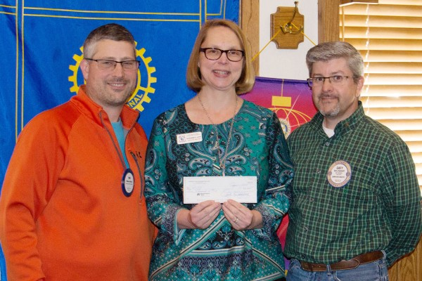 Pictured (left to right):  Tom Marsh, Houghton Lake Rotary President; Suzanne E. Luck, Executive Director of RCCF; Gary Gandolfi, Houghton Lake Rotarian.