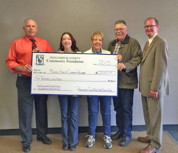 Pictured (Left to Right): Dave Harned (RCCF Trustee), Amanda North (Assistant Director of New Beginnings), Caryl and Ed Fischer (Alano Representatives), and Brent Cryderman (RCCF Trustee)